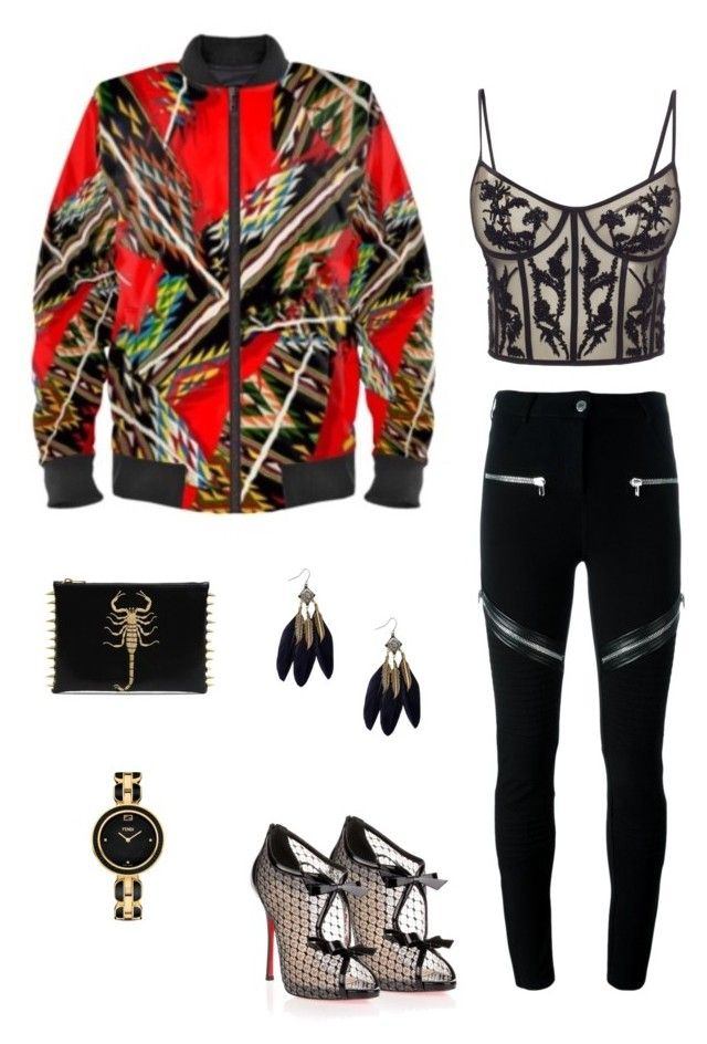 """""""Fallen feathers"""" jacket ootd by guutanii on Polyvore featuring polyvore, fashion, style, Alexander McQueen, Givenchy, Christian Louboutin, Fendi and clothing"""