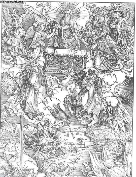 The Seven Trumpets Are Given to the Angels, 1498 by Albrecht Durer (1471-1528, Italy)