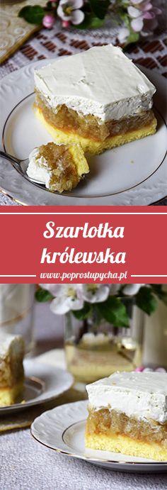 Pyszna szarlotka królewska :) Delikatny biszkopt, zwarta, owocowa masa jabłkowa oraz śmietanka a`la ptasie mleczko <3 Skusicie się? #poprostupycha #szarlotka #krolewska #przepis