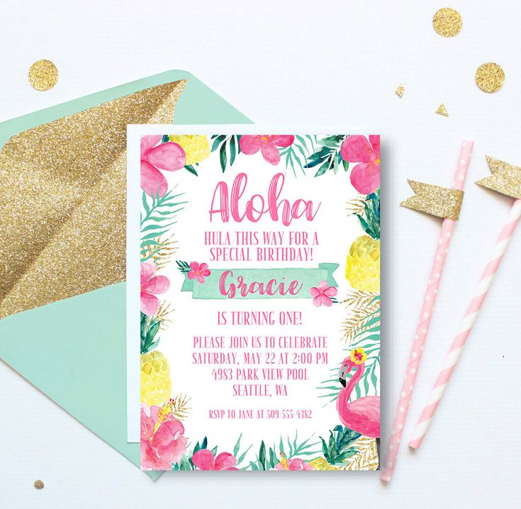 Aloha Hawaii Luau Birthday Invitation, Luau First Birthday Invitation, Hawaiian Invitation, Pineapple Invitation, Pink Gold, 1st Birthday by LiviLouDesigns on Etsy https://www.etsy.com/listing/513559536/aloha-hawaii-luau-birthday-invitation