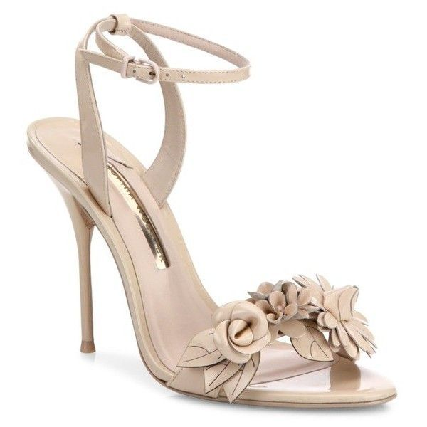 Sophia Webster Lilico Flower Embellished Calf Leather Sandals ($550) ❤ liked on Polyvore featuring shoes, sandals, nude, flower shoes, nude sandals, blossom footwear, calf leather shoes and blossom shoes