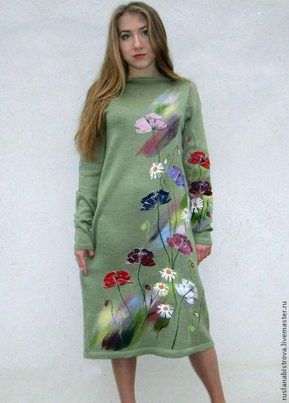 """"""" Полевых цветов сияние """" - салатовый,рисунок,полевые цветы,маки,ромашки"""