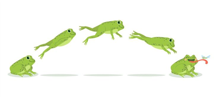 Frog jump. Various frog jumping animation sequence, jump ...