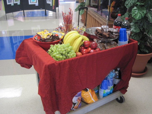 A great little breakfast cart set up in the teachers lounge during Teacher Appreciation Week and available to them in the morning before school starts.