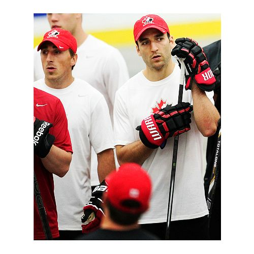 Brad Marchand  Patrice Bergeron  Boston Bruins at Team canada practice hockey