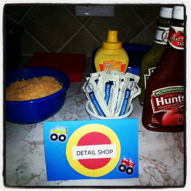 Detail shop for hot dogs! Ideas for Monster truck birthday party.