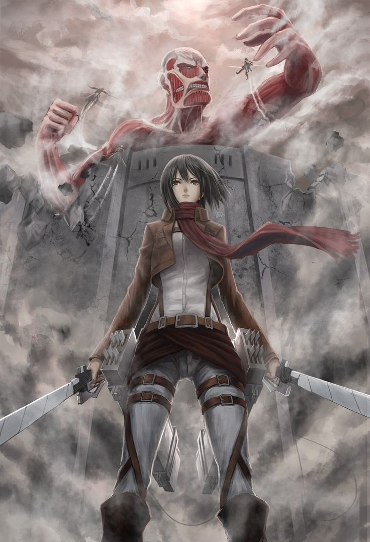 Shingeki no Kyojin. That's right mikasa. Stand there epically while death and destruction is going on right behind you.