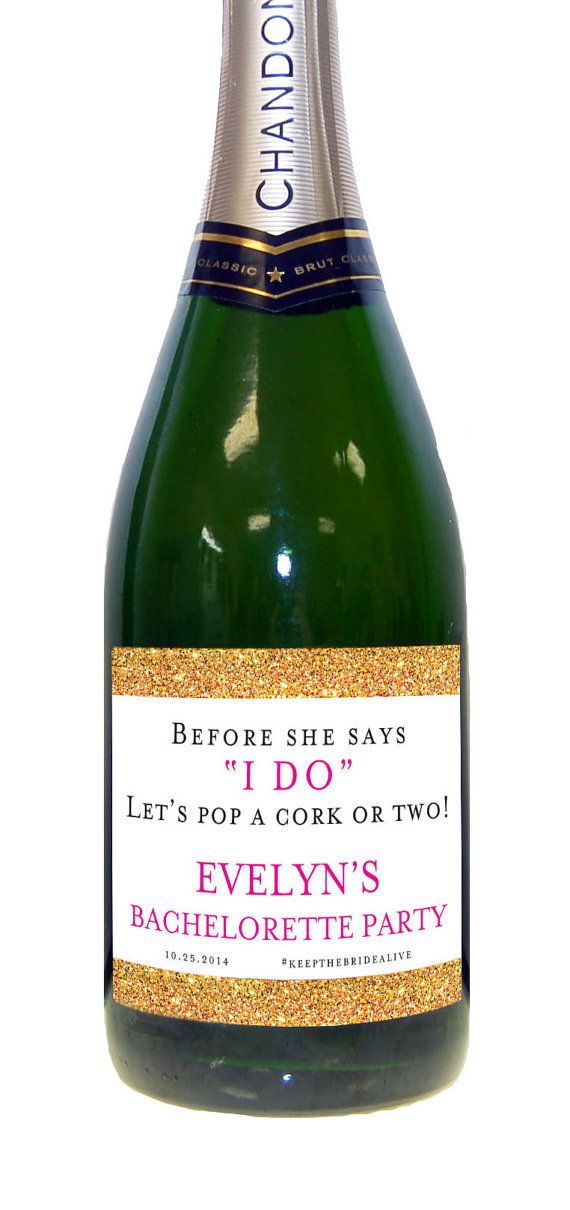 Bachelorette Party Champagne Labels (Set of 6) Water Proof Wedding Bachelorette Gold Sparkle Bridal Shower Label on Etsy, $19.00