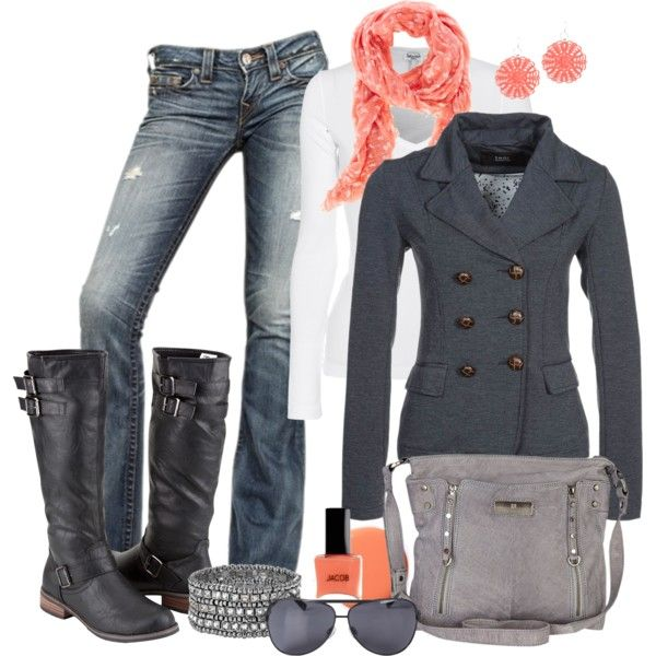 """Coral and Gray"" by pamnken on Polyvore"