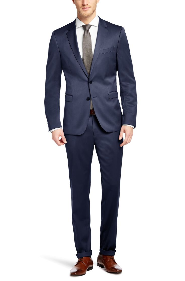 BOSS Extra Slim-Fit Anzug ´Ryan4/Win2` aus Schurwoll-Mix Dunkelblau 339€