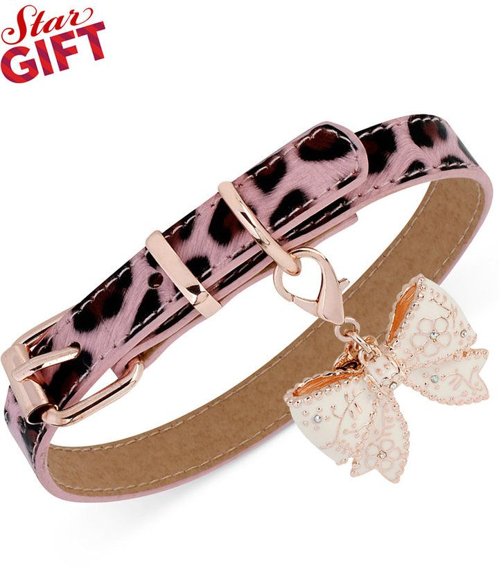 Betsey Johnson Rose Gold Tone Pink Leopard Bow Charm Dog