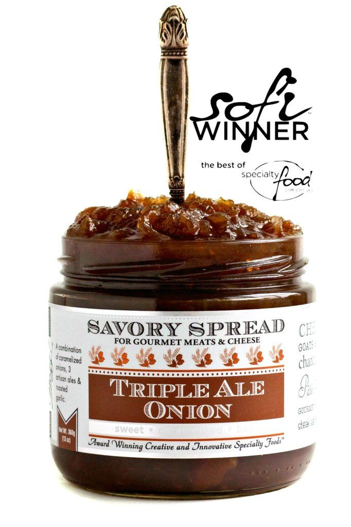"""sweet . sticky . hops"" serve this gourmet spread with: steak. BBQ. burgers. chicken. cheddar. goats cheese. crackers. dip. sandwiches.[[start tab]] Introduction Our Triple Ale Onion Spread is Special"