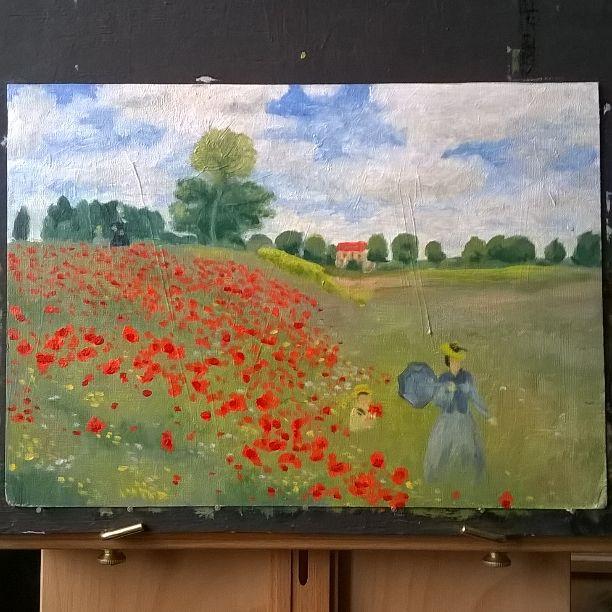 """Копия картины Клода Моне """"Поле маков"""". Copy of Claude Monet's 'Poppy Field'."""