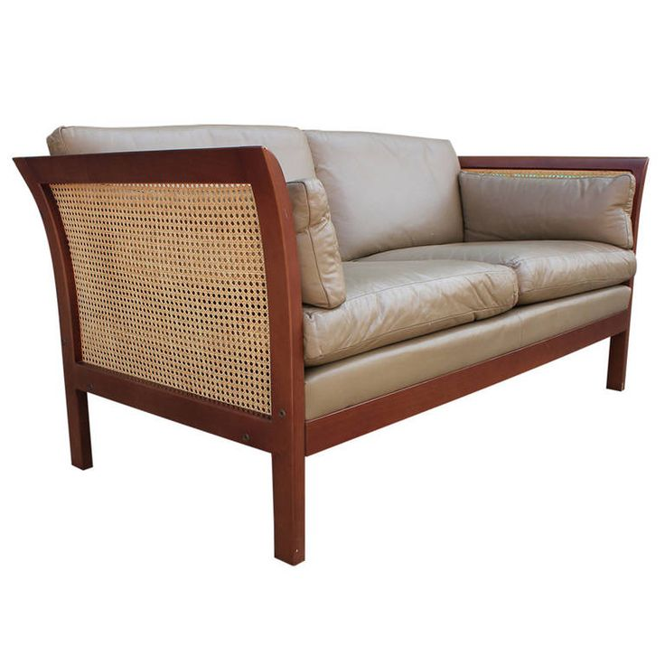 Arne Norell Leather and Cane Sofa | From a unique collection of antique and modern settees at https://www.1stdibs.com/furniture/seating/settees/