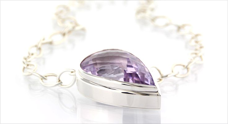 LILAC-GLAM* big handmade jewel in polished silver with amethyst