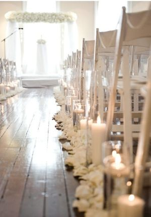 what if the ceremony was white, white, white, and the reception was all about turquoise?    aisle by lesley