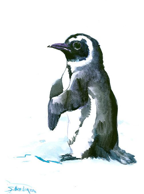 Penguin., Original watercolor painting, 12 X 9 in, penguin lover art, nursery art, children art, natural history