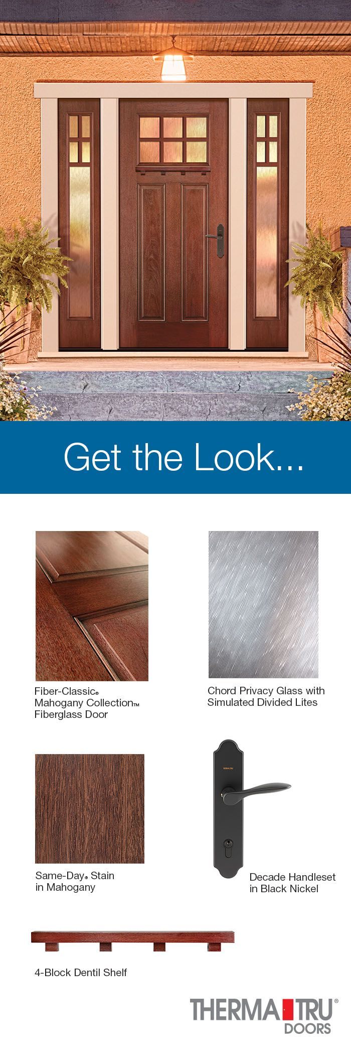 Therma Tru Fiber Classic Mahogany Collection Fiberglass Door With Same Day  Stain In