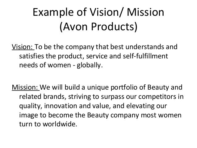example of vision   mission  avon products  vision  to be