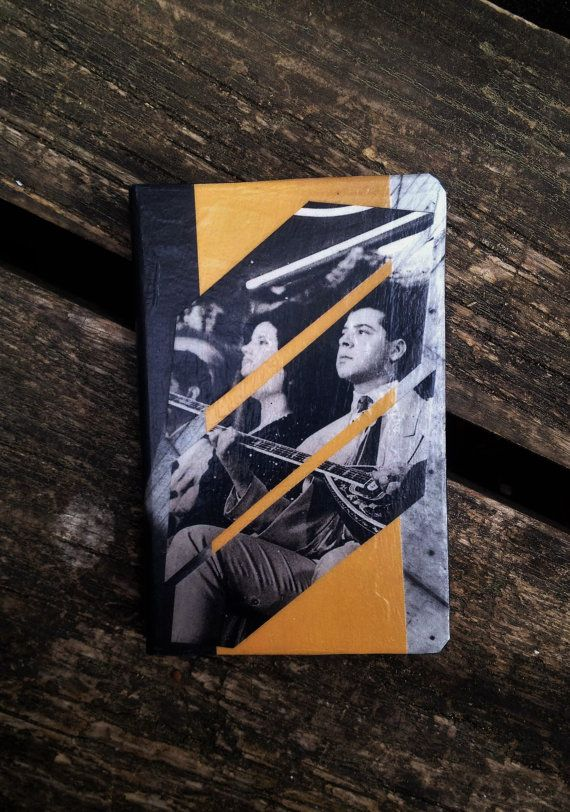 Unique A6 notebook. Analog collage Rebetika. Hand cut by Noirgraph