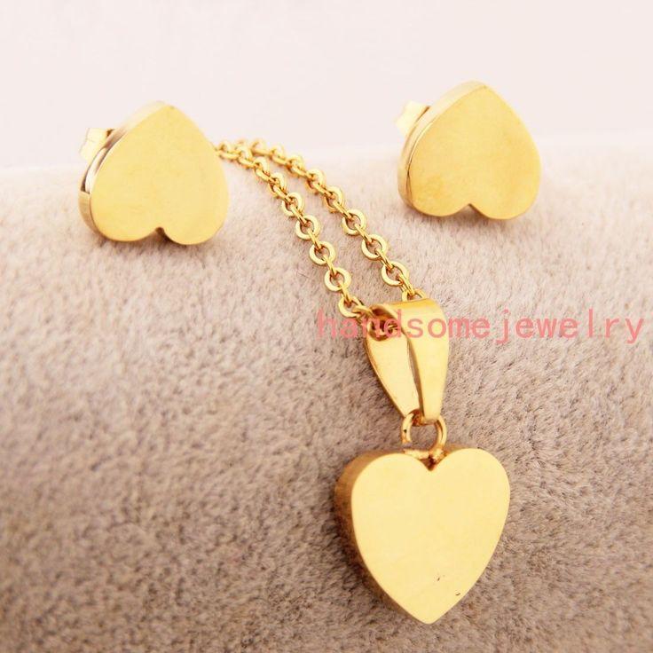 Stainless Steel Cute Gold Tone Heart Pendant Necklace&Stud Earrings Women's Sets