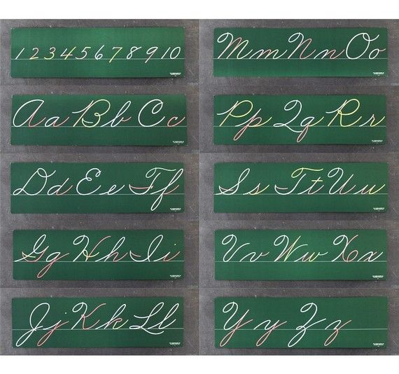 Cursive Lettering Boards, over our blackboards in grade school.