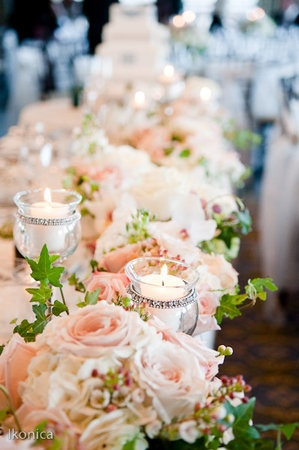 love the mix of pinks + candles