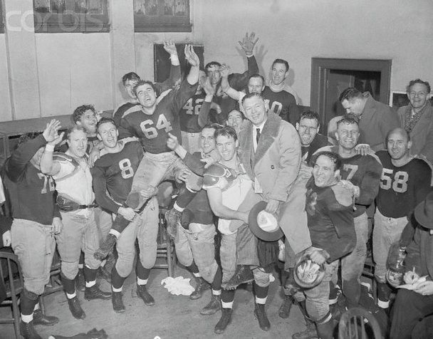 The Packers celebrate their 1944 Championship against the NY Giants while World War II raged on in Europe.  Final score was Packers' 14 to Giants' 7.