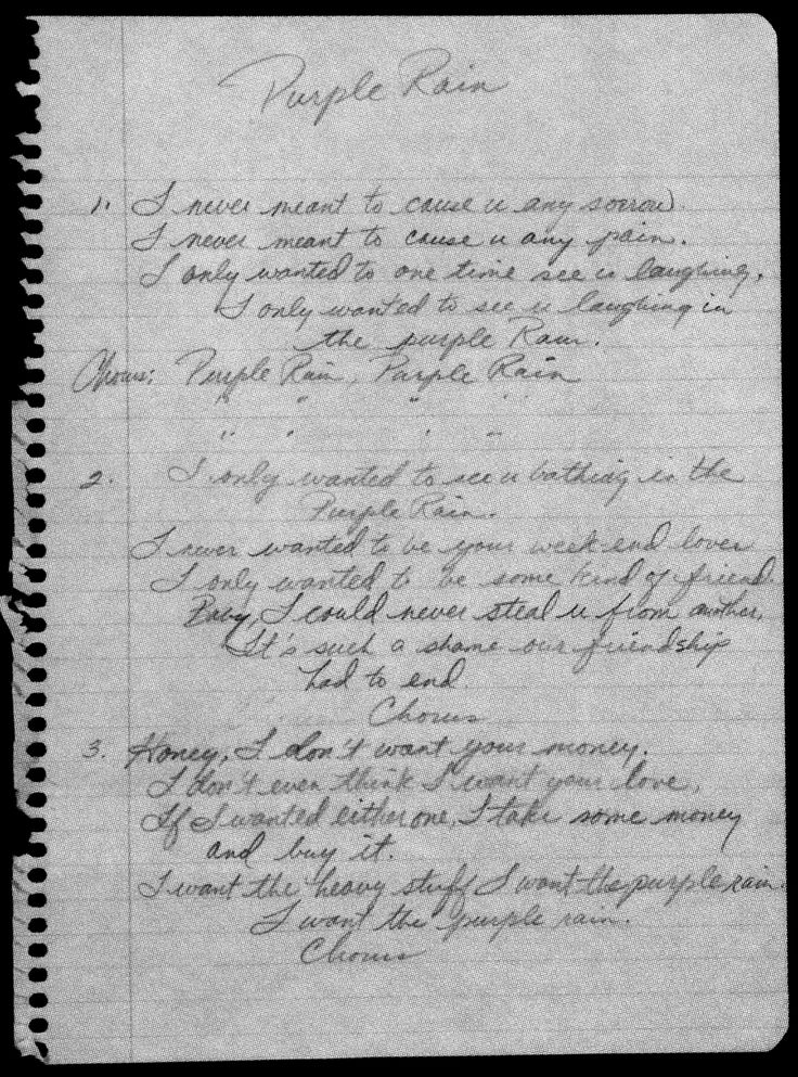 "Prince's handwritten lyrics to ""Purple Rain"""