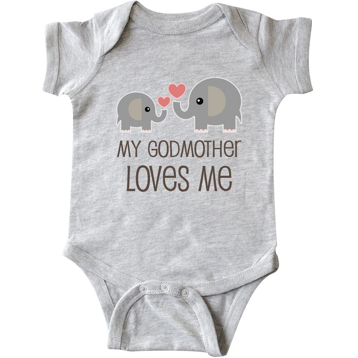 My Godmother Loves Me Infant Creeper Heather $16.99 www.personalizedfamilytshirts.com