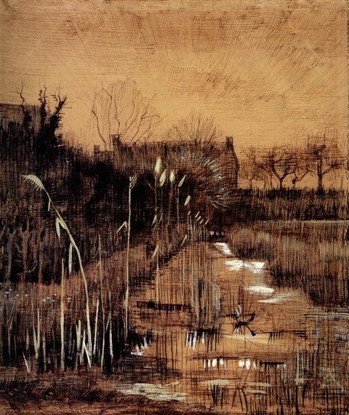 Ditch, 1884 by Vincent van Gogh. Realism. landscape. Van Gogh Museum, Amsterdam, Netherlands