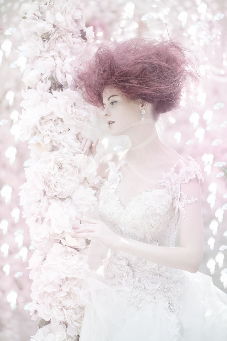 Dreamy wedding gown with dreamy details #weddinggown #weddingdress #fairytale #dreamy #coloredhair #beautiful #white #whitegown #hautecouture #tullegown #ballgown #weddingcouture #fashion #fashionphotography #weddingphotography #fashionspread #highfashion #ruslytjohnardi #rusltjohnardiatelier