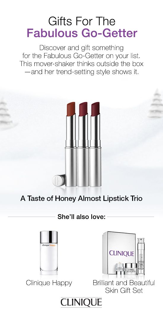 The Fabulous Go-Getter on your list will love #Clinique's Almost Lipstick Trio in Tender Honey, Chic Honey and Spicy Honey. #Beauty #Makeup #Lipstick #LipGloss