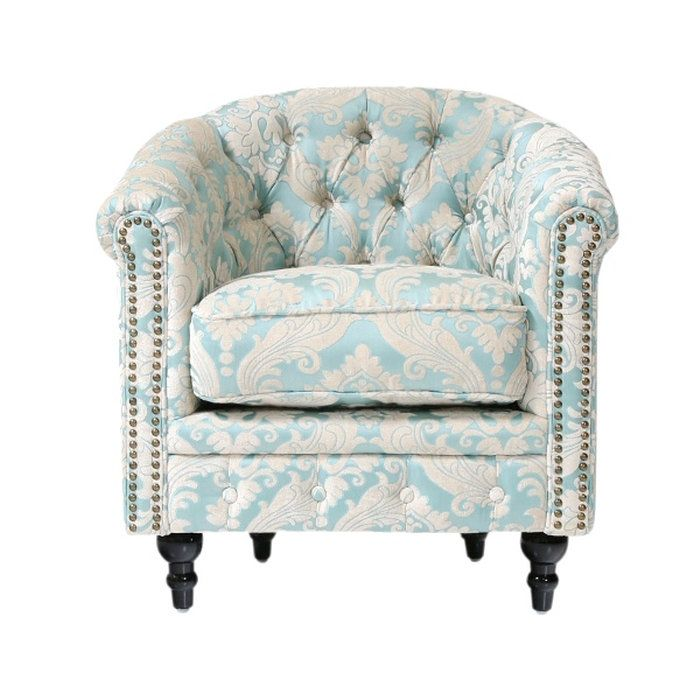 コンパクトチェスターフィールドラウンジソファチェスターフィールドソファチェスターソファーチェア椅子クラシックアンティークロビーチェアタブチェア一人掛け1人掛けシングルファブリックブルー青色イギリスダマスク柄ヨーロッパVL1F66K