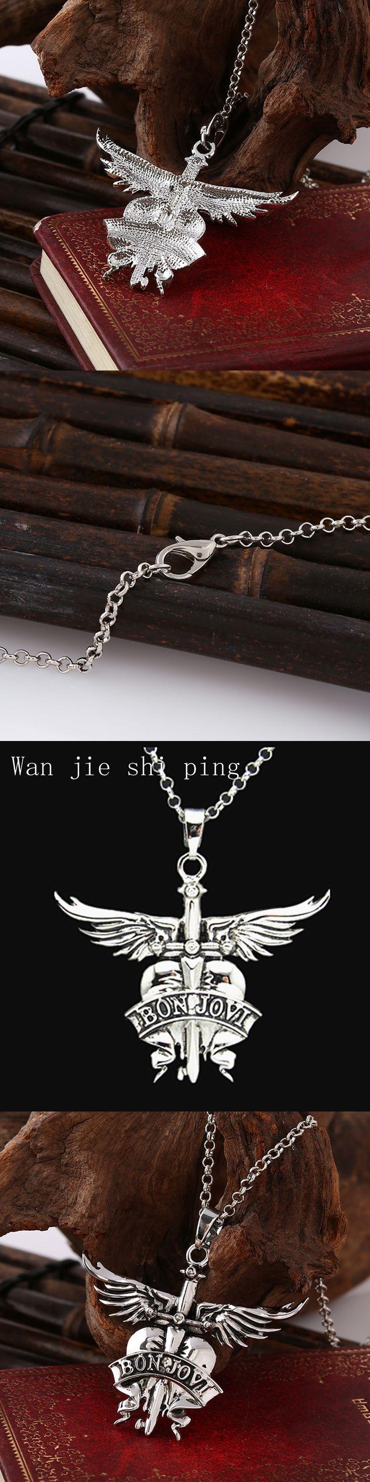 America Bon Jovi rock band necklaces pendants for men women white gold plated alloy long chain pendant necklace best friend gift