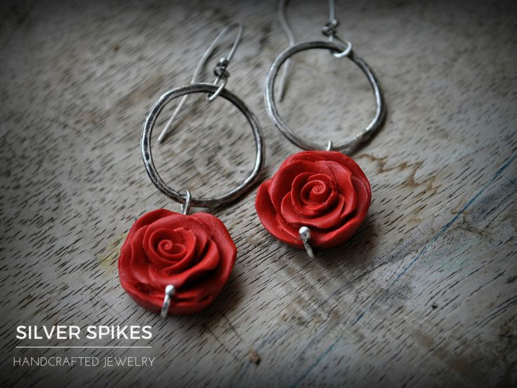 Silver hoop earrings,sterling silver earrings,silver and red rose…