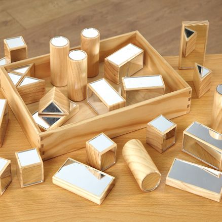 Mirror blocks — easy to DIY from ordinary blocks + acrylic mirror tiles or adhesive mirror sheets