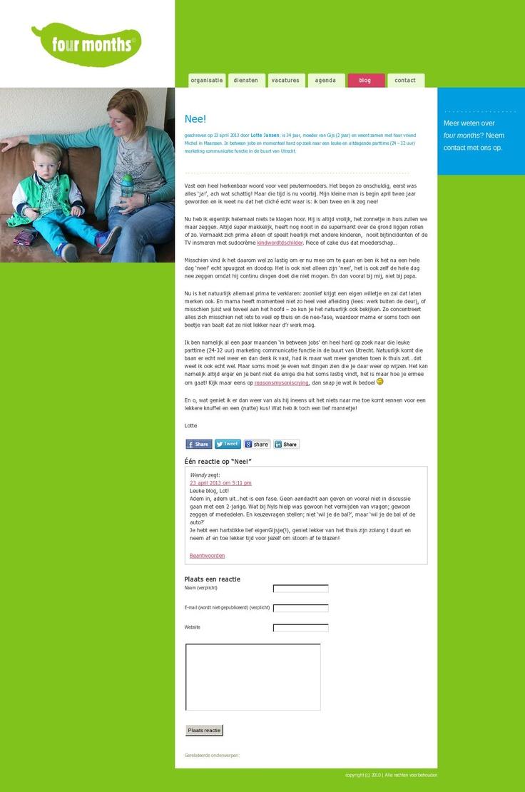 Mijn eerste gastblog voor Four Months over de combinatie moederschap en werk 'http://www.fourmonths.nl/nee-2'