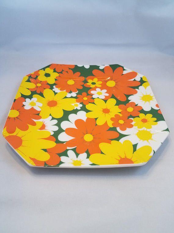 Retro Fun and Happy Bright Floral Plate