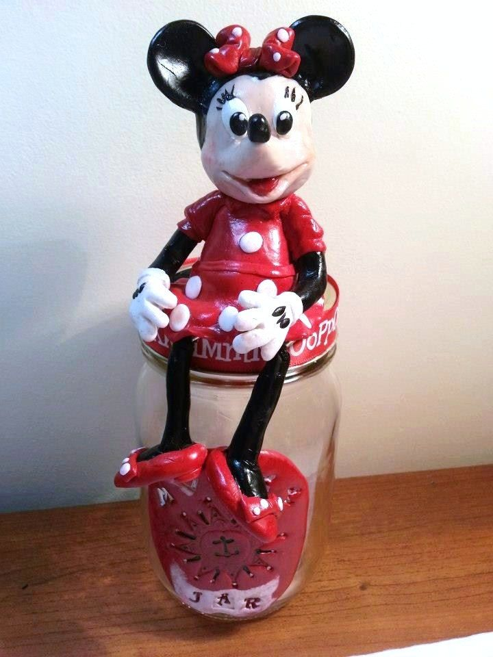 hand sculpted polymer clay Mini Mouse money jar, home decor, home & living, ornaments, handmade, money box, candy jar, clay mouse, money jar by BloominClay on Etsy