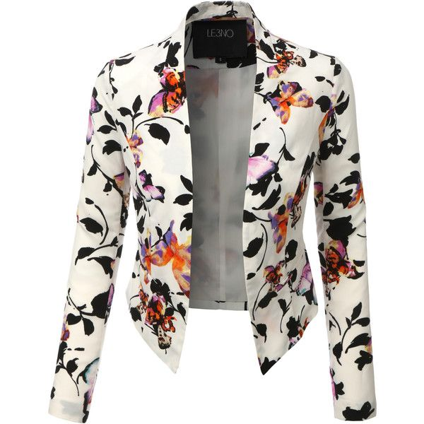 LE3NO Womens Lightweight Cropped Open Front Floral Blazer (£18) ❤ liked on Polyvore featuring outerwear, jackets, blazers, draped blazer, white blazer jacket, drape jacket, white blazer and white cropped jacket