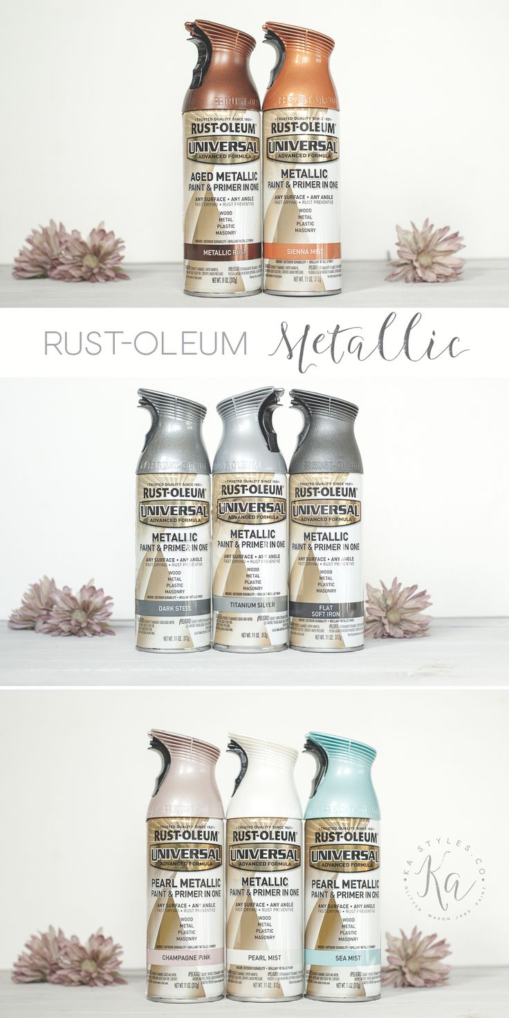 20+ shade samples. Rust-oleum metallic spray paint colors. Silvers, grays, golds, coppers, etc.