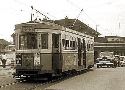 R class Tram 1923 at Sydenham Railway Station, Sydney, 20 November 1954.