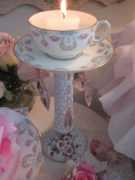 Upcycled Flea Finds ~ Creative Porcelain Rose Tea Cup Candle holder ~ want to make on of these!