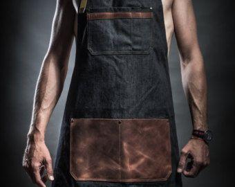Selvedge denim and leather apron cross back от PAULAKIRKWOOD