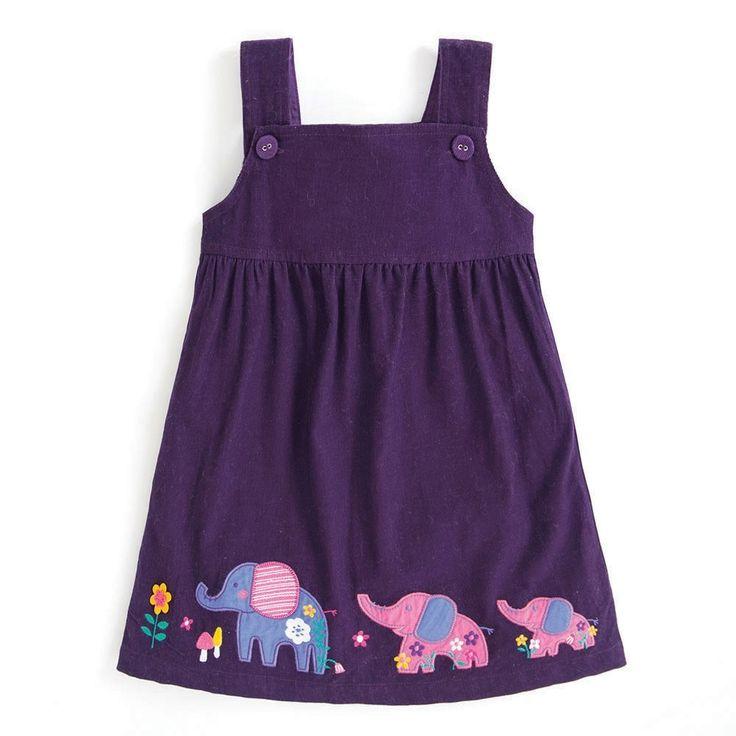 Girls' Mulberry Elephant Pinafore Dress | JoJo Maman Bebe