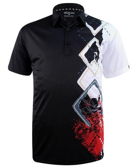 cc5cfc74c Argyle men's golf shirts in black featuring ProCool fabric for superior  moisture control and maximum comfort. Sublimation skull & argyle print -  FREE ...