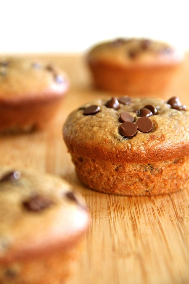 Flourless Chocolate Chip Almond Butter Muffins -- gluten-free, sugar-free, dairy-free, and oil-free. Recipe at runningwithspoons.com.