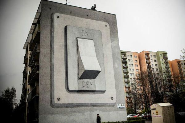 Street Art At Its Best In Poland : Escif's On/Off Switch Mural