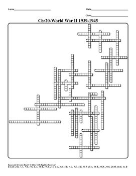 Chapter-20: World War II 1939-1945 is one of 27 crossword puzzles that concentrate on the U.S. History STAAR Test.  Chapters 20-23 are grouped together to cover World War II to The Sixties-Minority Movements & Counter Cultures.  The crossword puzzles compliment the readers and are a good source to introduce and define key terms.